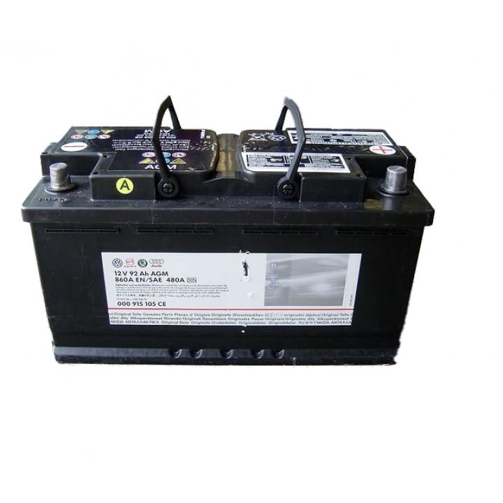 Родной аккумулятор AUDI (000915105CE) 12в 92A/h  DIN 520A  AGM.