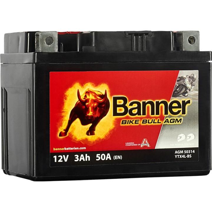 Мото аккумулятор BANNER Bike Bull AGM (50314) 3 А/ч