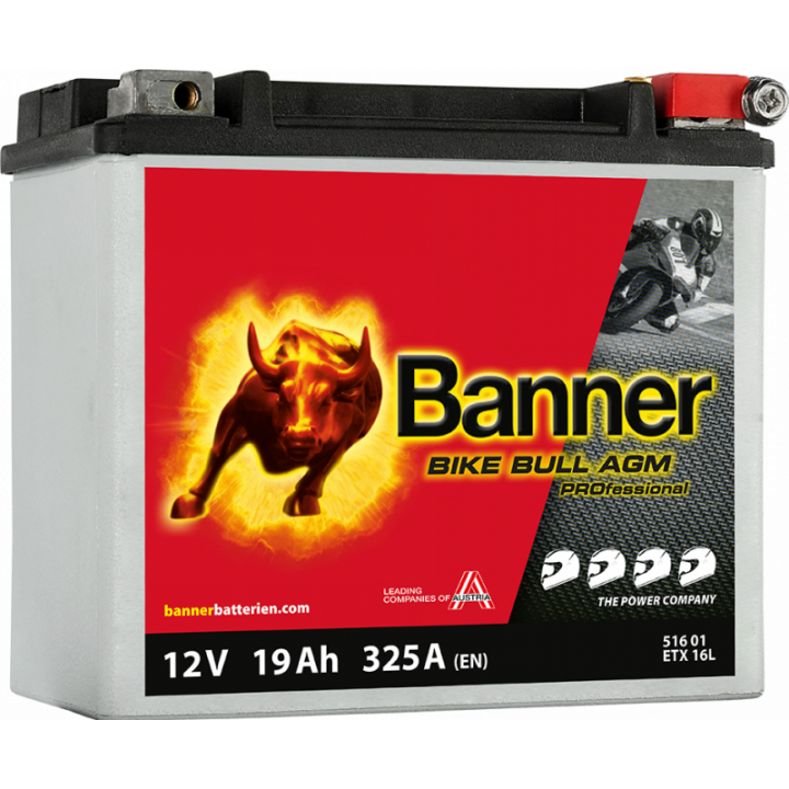 Мото аккумулятор BANNER BANNER Bike Bull AGM PRO (51601) 19 А/ч