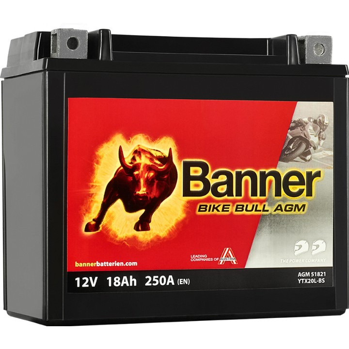 Мото аккумулятор BANNER Bike Bull AGM (51821) 18 А/ч