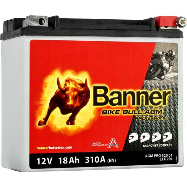 Мото аккумулятор BANNER Bike Bull AGM PRO (52001) 18 А/ч